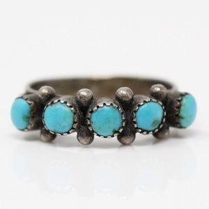 ZUNI Sterling Silver Snake Eye Turquoise Ring 5.75